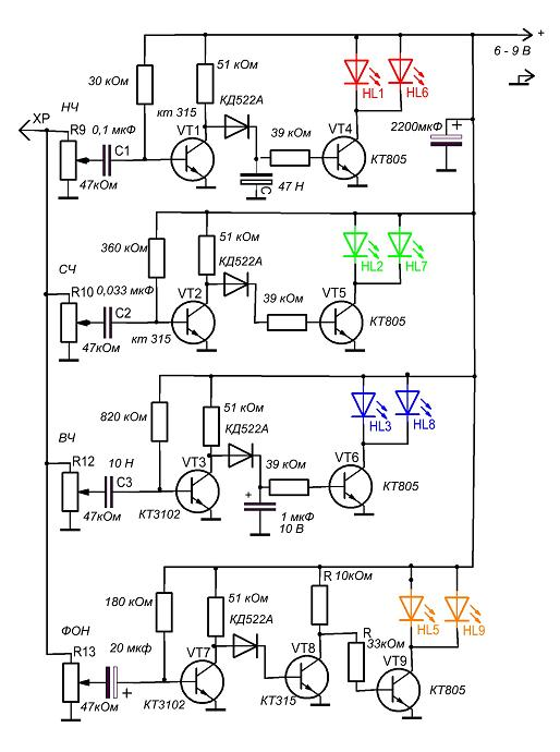 Схема цветомузыки на светодиодах своими руками